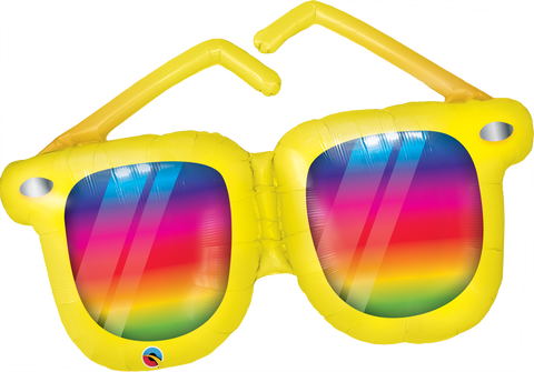 "42"" Shape Foil Rainbow Striped Sunglasses SW #82650 - Each (Pkgd.)"