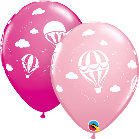 "11"" Round Pink & Wild Berry Hot Air Balloons #85838 - Pack of 50"