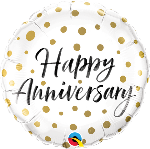 "18"" Round Foil Happy Anniversary Gold Dots #85847 - Each (Pkgd.)"