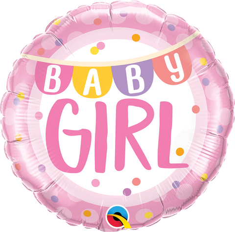 "18"" Round Foil Baby Girl Banner & Dots #85851 - Each (Pkgd.)"