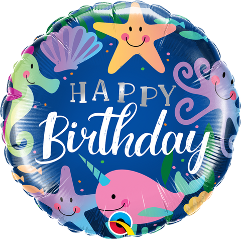 "18"" Round Foil Bday Fun Under the Sea #87998 - Each (Pkgd.)"
