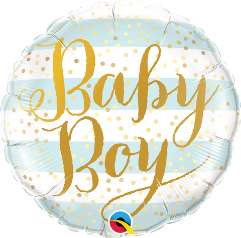 "18"" Round Foil Baby Boy Blue Stripes #88001 - Each (Pkgd.)"