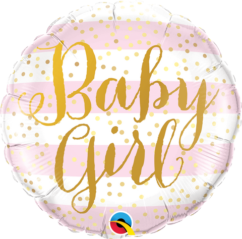 "18"" Round Foil Baby Girl Pink Stripes #88004 - Each (Pkgd.)"