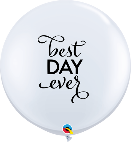 3' Round White Simply Best Day Ever #88201 - Pack of 2