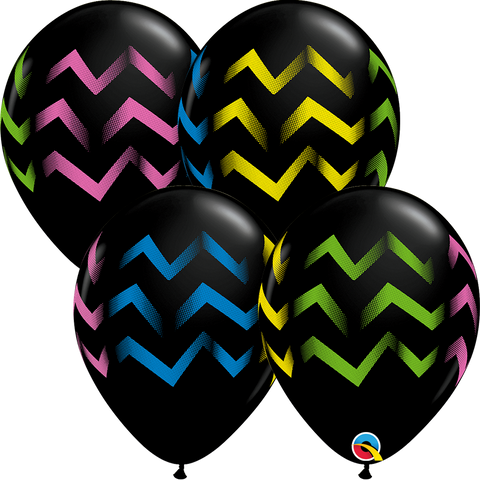"11"" Round Onyx Black Colorful Chevron Stripes #88211 - Pack of 50"
