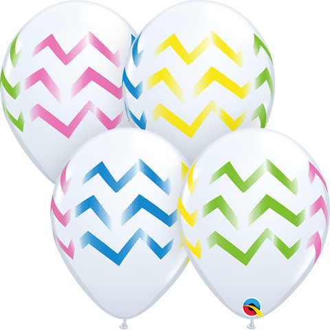 "11"" Round White Colorful Chevron Stripes #88212 - Pack of 50"