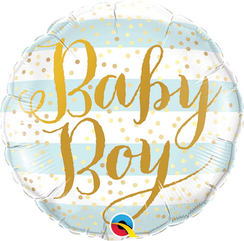 "09"" Round Foil Baby Boy Blue Stripes #88489 - Each (Unpkgd.)"
