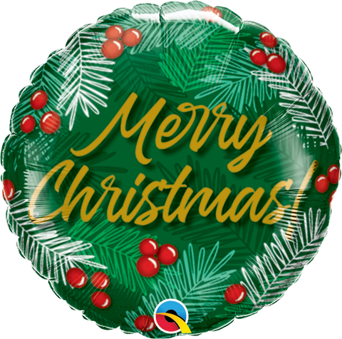 "18"" Round Foil Christmas Greens & Berries #89853 - Each (Pkgd.)"