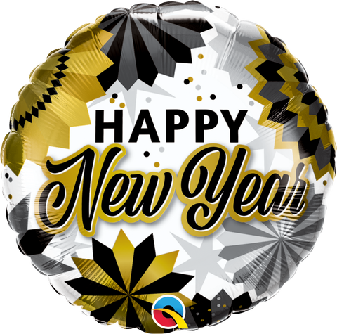 "18"" Round Foil New Year Black & Gold Fans #89858 - Each (Pkgd.)"