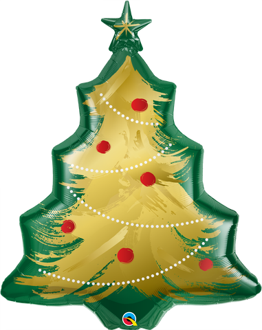 "40"" Shape Foil Christmas Tree Brushed Gold SW #89972 - Each (pkgd.)"