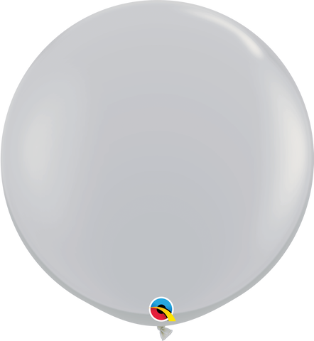 3ft Round Gray Qualatex Plain Latex #92300 - Pack of 2