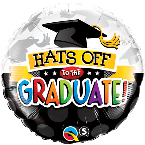 "18"" Round Foil Hats Off To The Graduate! #93214 - Each (Pkgd.)"