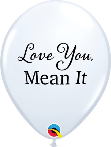 "11"" Round White Simply Love You, Mean It #97144 - Pack of 50"