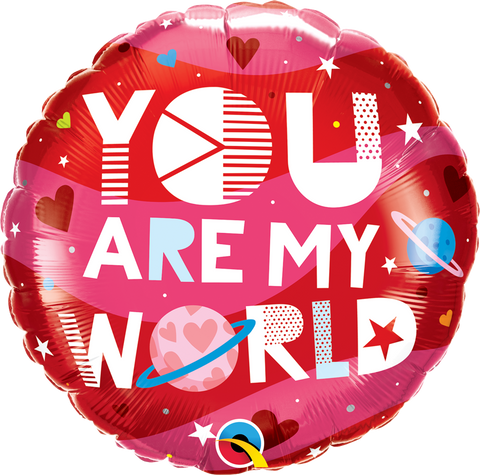 "18"" Round Foil You Are My World #97171 - Each (Pkgd.)"