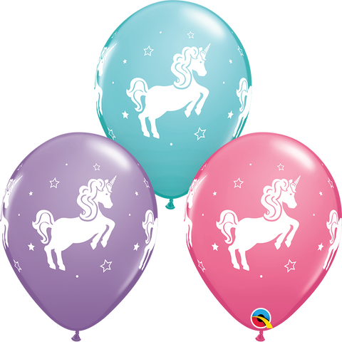 "11"" Round Whimsical Unicorn Assorted Rose, Spring Lilac & Caribbean Blue #97376 - Pack of 50"