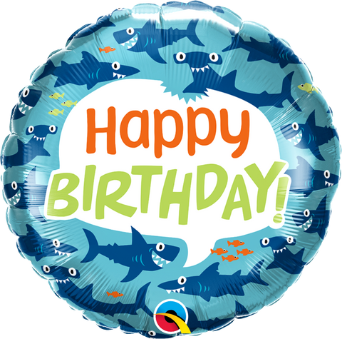 "18"" Round Foil Birthday Fun Sharks #97379 - Each (Pkgd.)"