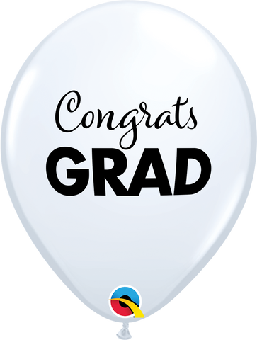"11"" Round White Simply Congrats Grad #98606 - Pack of 50"