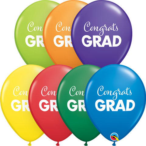 "11"" Round Carnival Asst Simply Congrats Grad #98617 - Pack of 50"