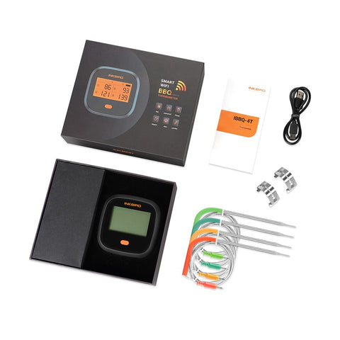 Inkbird IBBQ-4T - Digitale waterdichte Wi-Fi draadloze thermometer - Getest - vleesthermometer
