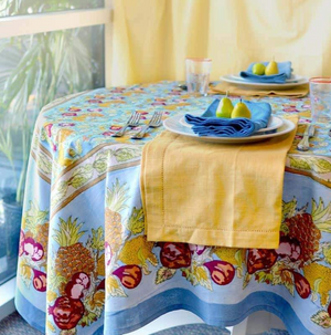 French Tablecloth Tutti Frutti Blue & Red