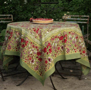 French Tablecloth Jardin Red & Green