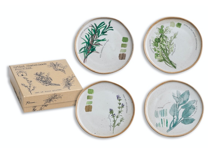 Farm To Table Plates Herbs S/4