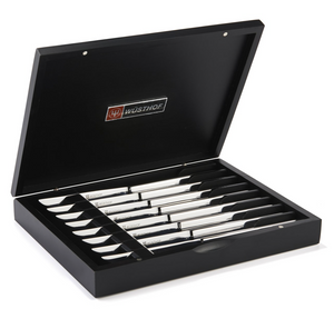 Eight Piece Stainless Steel Steak Knife Set in Black Presentation Chest