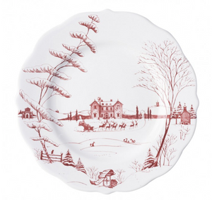 Country Estate Winter Frolic Ruby Dinner Plate Christmas Eve