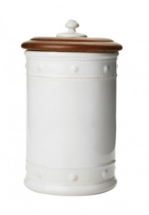 "Berry & Thread Whitewash 11.5"" Canister with Wooden Lid"