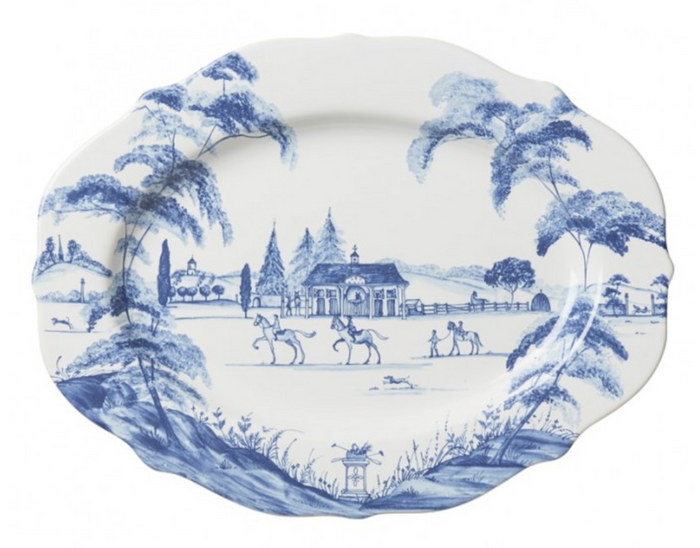 "Country Estate Delft Blue 15"" Serving Platter Stable"