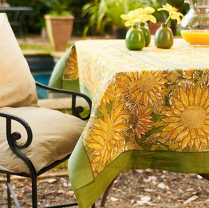 French Tablecloth Sunflower Yellow & Green