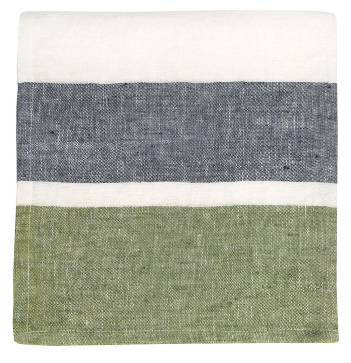 Bold Stripe Linen Evergreen Napkin