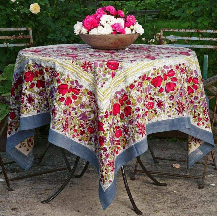 French Tablecloth Jardin Red & Grey