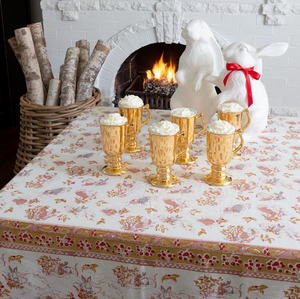 French Tablecloth Lapins d'Hiver Red