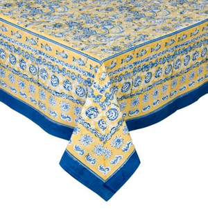 French Tablecloth La Mer Blue & Yellow