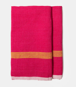 Laundered Linen Kitchen Towel Pink & Lime