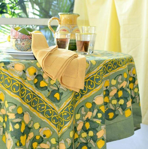 French Tablecloth Fruit Yellow & Green