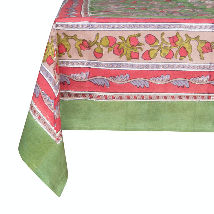 French Tablecloth Acorns & Foliage Green