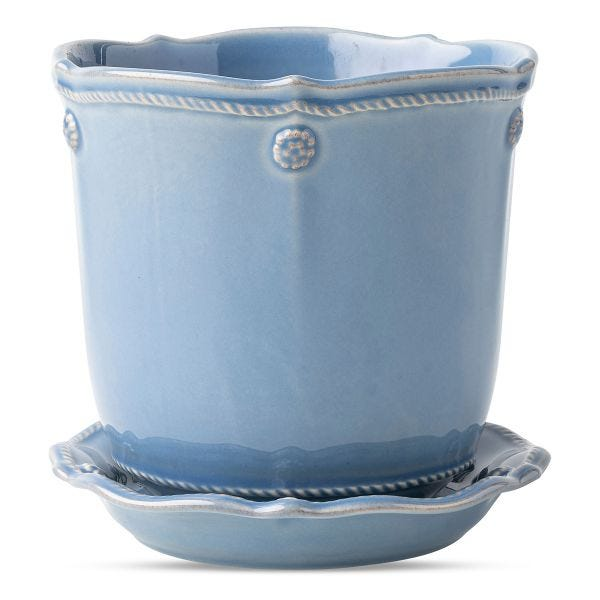 "Berry & Thread Chambray 5.25"" Planter & Saucer"