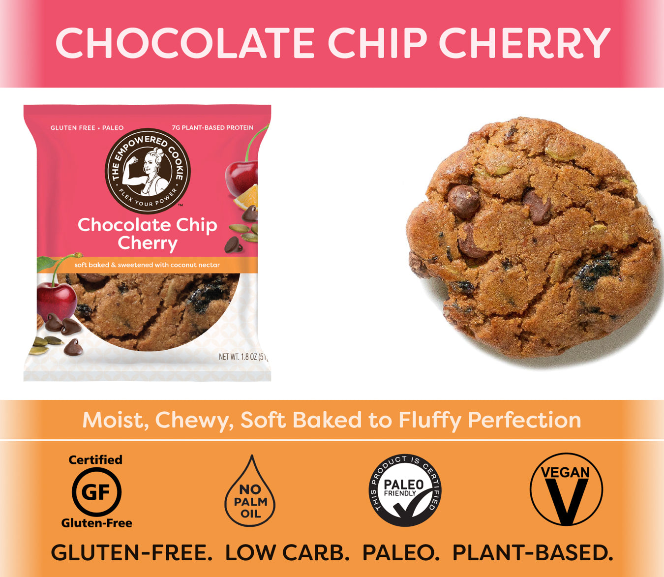 Chocolate Chip Cherry, The Empowered Cookie (12 Pack)
