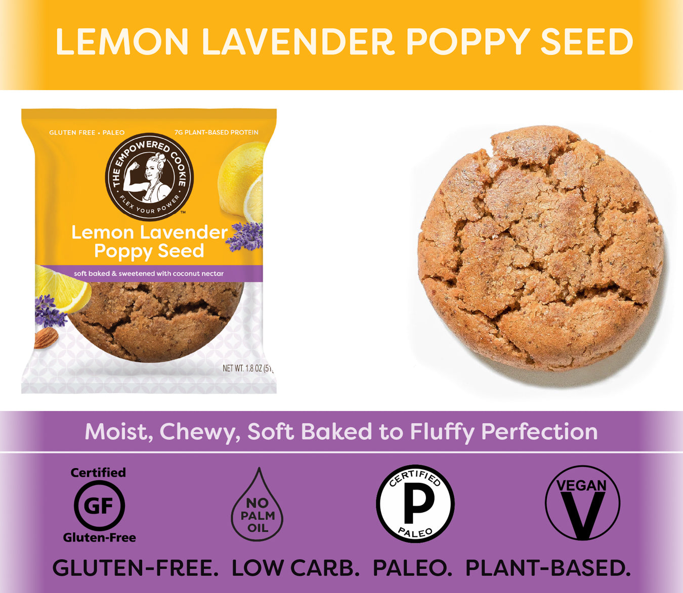 Lemon Lavender Poppyseed, The Empowered Cookie (12 Pack)