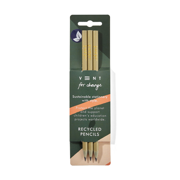 Olive green coloured Recycled pencils pack of 3