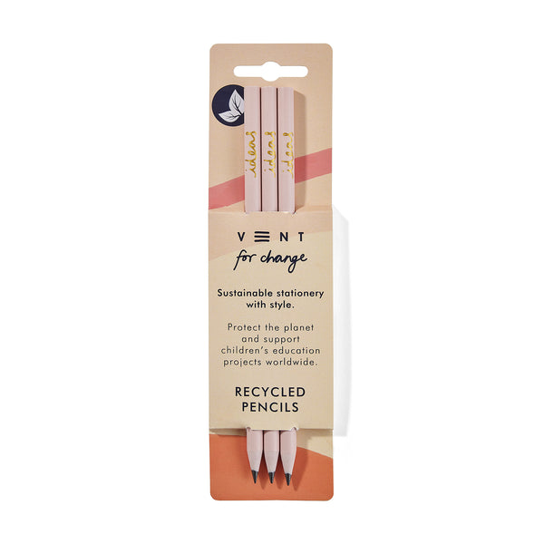 Pale pink coloured Recycled pencils pack of 3