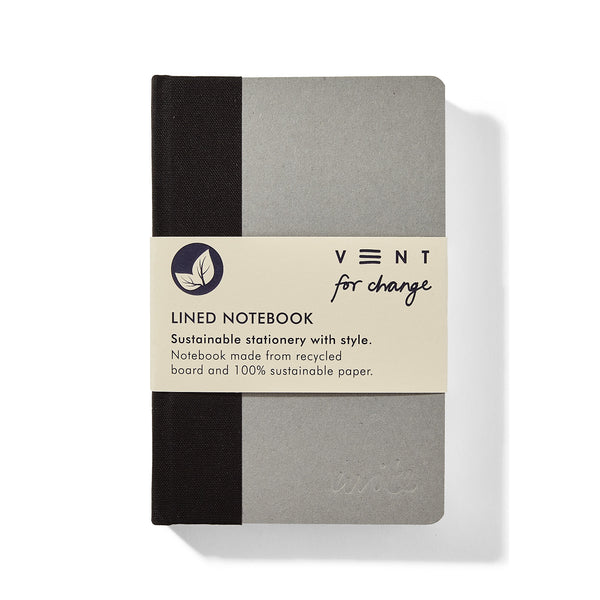 Recycled Hard Cover Mini Notebook - Black Lined
