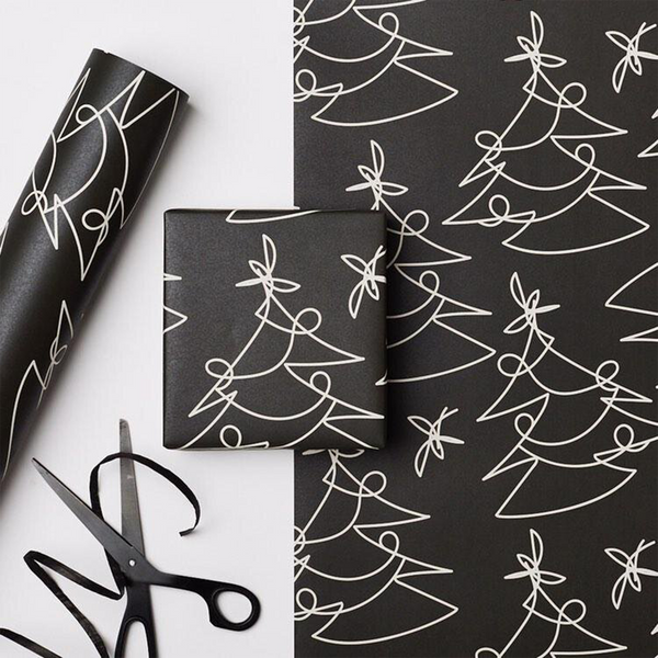 Recyclable Christmas Wrapping Paper - Black Tree Lines by Kinshipped