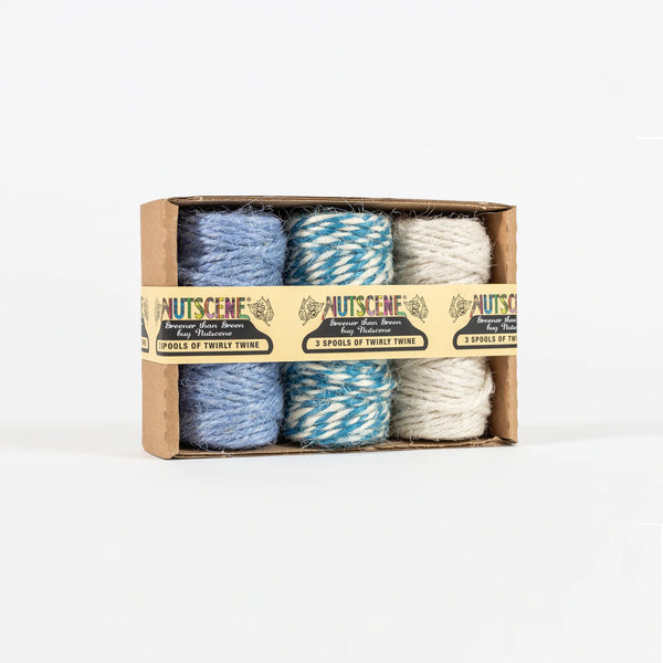 Pack of 3 Blue & White Natural Jute Baker's Twine by Nutscene