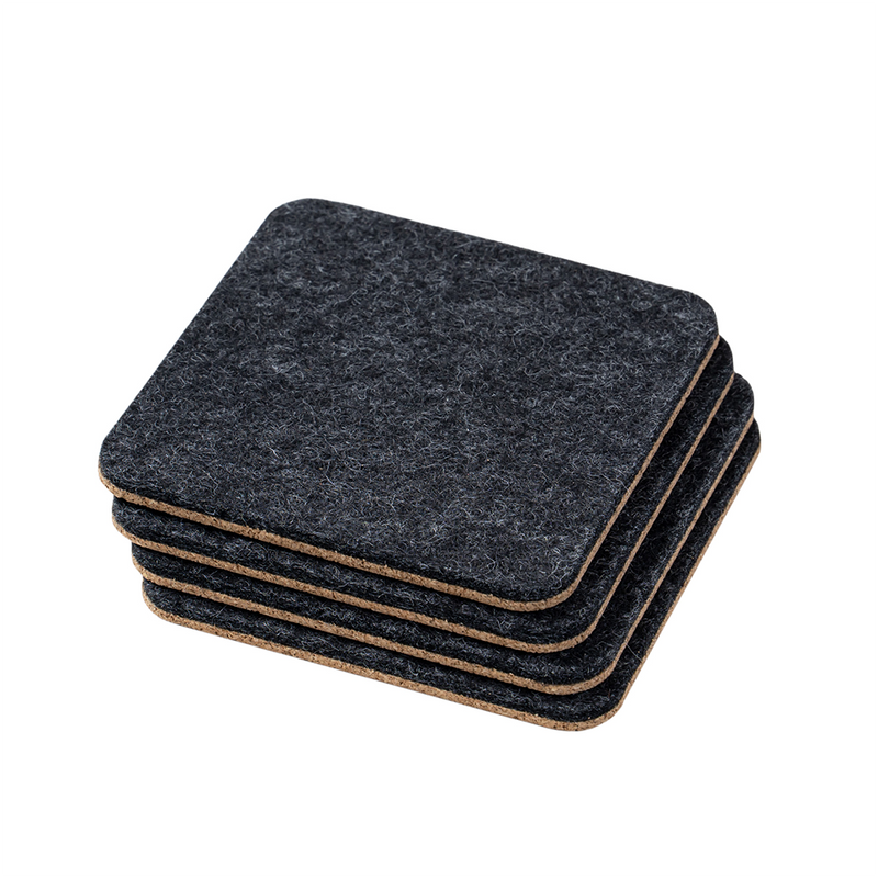 Set of 4 Coasters in Natural Felt & Cork by Oakywood