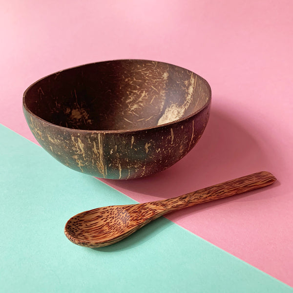Coconut wood spoon with coconut bowl