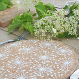Set of 4 Round Cork Placemats - Dandelion by Liga