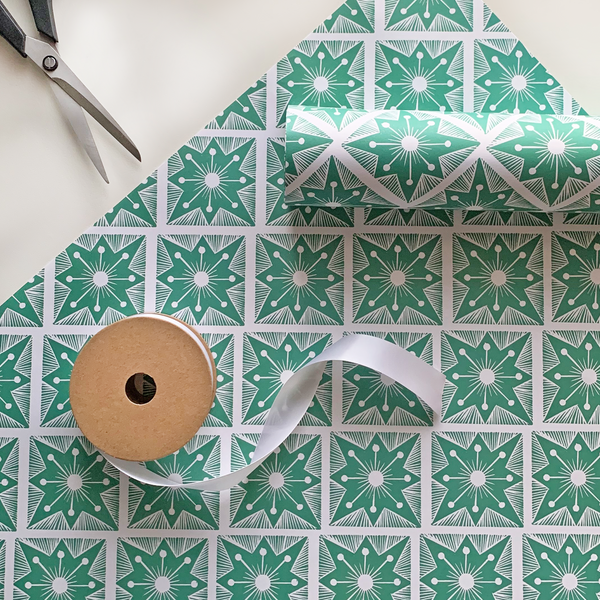 Recyclable Wrapping Paper - Terrazzo Green by Rewrapped